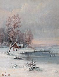 Coast during Winter, 1891 by Alexey Savrasov | Painting Reproduction