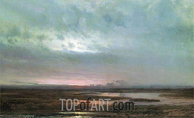 Sunset Above Bogs, 1871 | Alexey Savrasov | Painting Reproduction