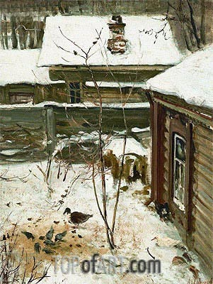 Court Yard. Winter, c.1870 | Alexey Savrasov | Painting Reproduction