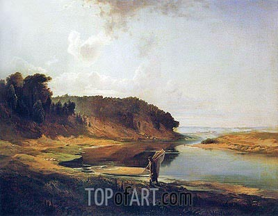 Landscape with River and Fisherman, 1859 | Alexey Savrasov | Gemälde Reproduktion