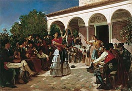 Gypsy Dance in the Gardens of the Alcazar before the Pavilion of Charles V, 1851 by Alfred Dehodencq | Painting Reproduction