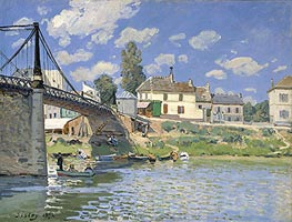 The Bridge at Villeneuve la Garenne, 1872 by Alfred Sisley | Painting Reproduction