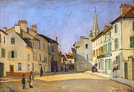 Square in Argenteuil (rue de la Chaussee), 1872 by Alfred Sisley | Painting Reproduction
