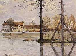 Ferry to the Ile-de-la-Loge, Flood | Alfred Sisley | Gemälde Reproduktion