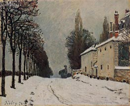 The Road to Louveciennes in Winter, 1874 von Alfred Sisley | Gemälde-Reproduktion