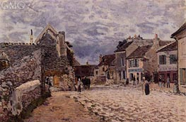 Village Street - Grey Weather, 1874 von Alfred Sisley | Gemälde-Reproduktion