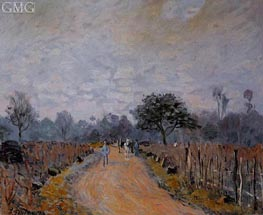 The Road from Prunay to Bougival, 1874 von Alfred Sisley | Gemälde-Reproduktion