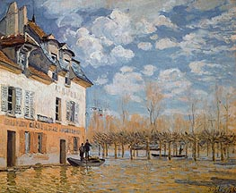 The Boat in the Flood, Port-Marly, 1876 von Alfred Sisley | Gemälde-Reproduktion