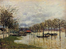 The Flood on the Road to Saint-Gemain, 1876 by Alfred Sisley | Painting Reproduction