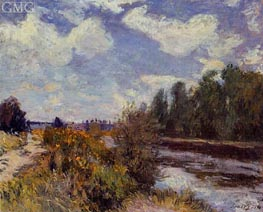 The Seine at Bougival, 1876 von Alfred Sisley | Gemälde-Reproduktion
