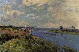 The Seine at Saint-Cloud, 1877 by Alfred Sisley | Painting Reproduction
