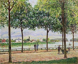 Street of Spanish Chestnut Trees by the River, 1878 von Alfred Sisley | Gemälde-Reproduktion