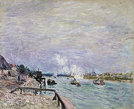 The Seine at Grenelle - Rainy Weather, 1878 von Alfred Sisley | Gemälde-Reproduktion