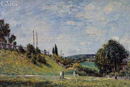 The Railroad Embankment at Sevres, 1879 von Alfred Sisley | Gemälde-Reproduktion
