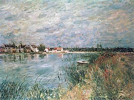 The River Banks at Saint-Mammes, 1880 by Alfred Sisley | Painting Reproduction