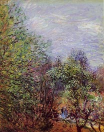 Two Women Walking Along the Riverbank, c.1880/85 by Alfred Sisley | Painting Reproduction