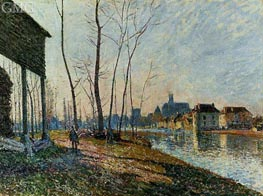 A February Morning at Moret-sur-Loing, 1881 von Alfred Sisley | Gemälde-Reproduktion