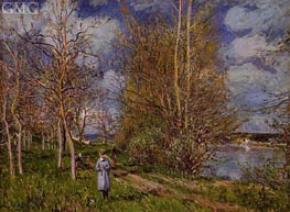 The Small Meadows in Spring, c.1880/81 von Alfred Sisley | Gemälde-Reproduktion