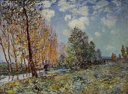 By the River, 1881 by Alfred Sisley | Painting Reproduction