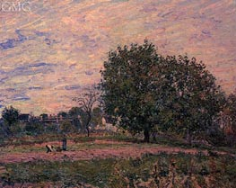 Walnut Trees, Sunset - Early Days of October | Alfred Sisley | Gemälde Reproduktion