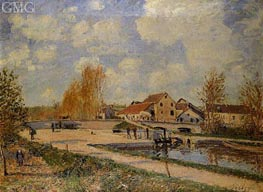 The Bourgogne Lock at Moret, Spring, c.1882 by Alfred Sisley | Painting Reproduction