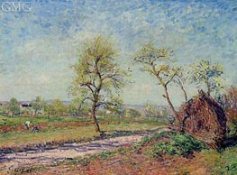 The Road from Veneux to Moret on a Spring Day, 1886 by Alfred Sisley | Painting Reproduction