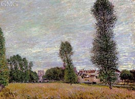 The Village of Moret, Seen from the Fields, 1886 by Alfred Sisley | Painting Reproduction