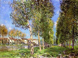 The Lane of Poplars at Moret, Morning, 1888 by Alfred Sisley | Painting Reproduction