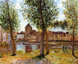 Poplars at Moret-sur-Loing, August Afternoon, 1888 by Alfred Sisley | Painting Reproduction