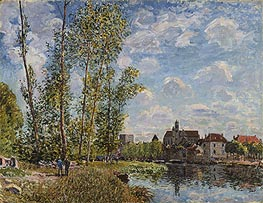 Moret, View from the Loing, May Afternoon, 1888 by Alfred Sisley | Painting Reproduction