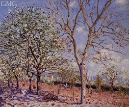 Plum and Walnut Trees in Spring, 1889 von Alfred Sisley | Gemälde-Reproduktion