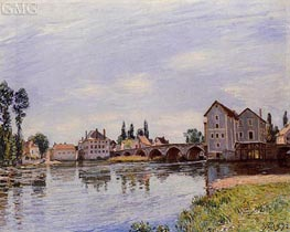 The Loing Flowing under the Moret Bridge, 1892 by Alfred Sisley | Painting Reproduction
