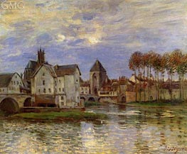 The Moret Bridge at Sunset, 1892 by Alfred Sisley | Painting Reproduction
