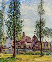View of Moret-sur-Loing through the Trees, 1892 by Alfred Sisley | Painting Reproduction