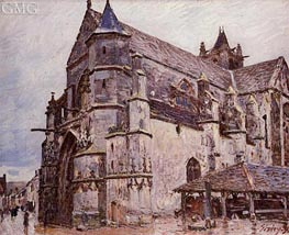 The Church at Moret, Rainy Morning, 1893 by Alfred Sisley | Painting Reproduction