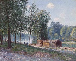 Cabins by the River Loing, Morning, 1896 by Alfred Sisley | Painting Reproduction