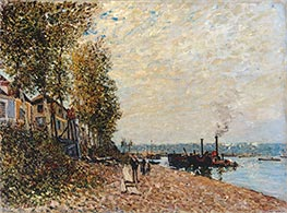 Steam Boats on Loing at Saint-Mammes (The Tugboat), 1877 by Alfred Sisley | Painting Reproduction