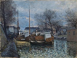 Barges on the St. Martin Canal, 1870 by Alfred Sisley | Painting Reproduction