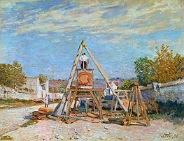 The Woodcutters (Sawing Wood), 1876 by Alfred Sisley | Painting Reproduction