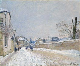 Rue Eugène Moussoir at Moret: Winter | Alfred Sisley | Gemälde Reproduktion