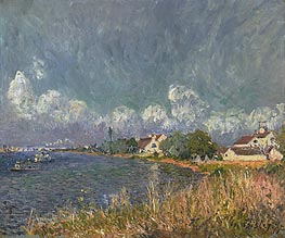 The Seine at Billancourt, 1877 by Alfred Sisley | Painting Reproduction