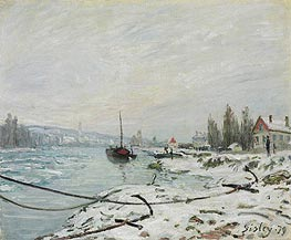 Mooring Lines, the Effect of Snow at Saint-Cloud, 1879 by Alfred Sisley | Painting Reproduction