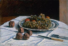 Grapes and Walnuts on a Table, 1876 von Alfred Sisley | Gemälde-Reproduktion