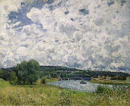 The Seine at Suresnes, 1877 von Alfred Sisley | Gemälde-Reproduktion