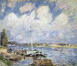 Boats on the Seine | Alfred Sisley | Painting Reproduction