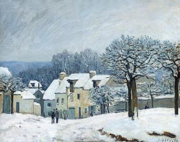 The Place du Chenil at Marly-le-Roi, Snow | Alfred Sisley | Painting Reproduction