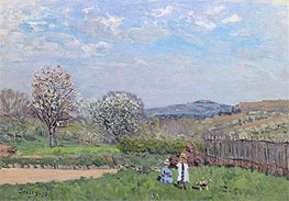 Children Playing in the Meadow, 1873 von Alfred Sisley | Gemälde-Reproduktion