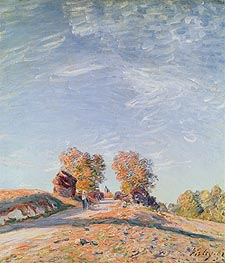 Uphill Road in Sunshine, 1891 by Alfred Sisley | Painting Reproduction
