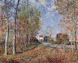 A Corner of the Woods at Sablons (Road to the Golden Woods), 1883 von Alfred Sisley | Gemälde-Reproduktion