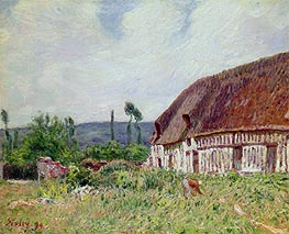Thatched Cottage in Normandy, 1894 von Alfred Sisley | Gemälde-Reproduktion